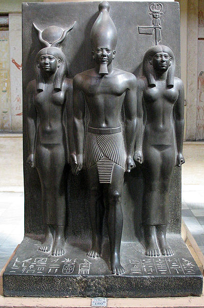Egyptian Triad Statue. Menkaura The Goddess Hathor and Goddess Bat