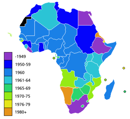 Geo Map of African Independence dates