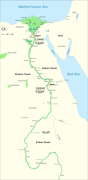 Nubia and Ancient Upper and Lower Egyptian map.svg
