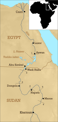Nubia's map of today's Egypt